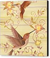 Hummingbirds - Wood Art Canvas Print by Vincent Doan