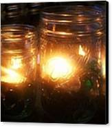 Illuminated Mason Jars Canvas Print by Christy Beal