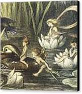 In Fairyland Fairies And Waterlilies Canvas Print by Richard Doyle