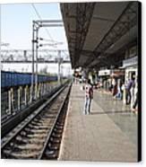 Indian Railway Station Canvas Print by Sumit Mehndiratta