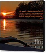 Inspirational Sunset With Quote Canvas Print by Sue Stefanowicz
