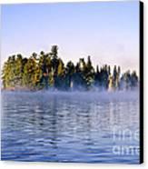 Island In Lake With Morning Fog Canvas Print by Elena Elisseeva