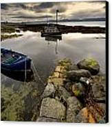 Islay, Scotland Two Boats Anchored By A Canvas Print by John Short
