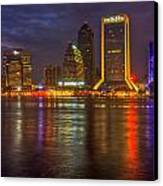 Jacksonville At Night Canvas Print by Debra and Dave Vanderlaan