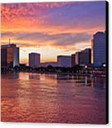 Jacksonville Skyline At Dusk Canvas Print by Debra and Dave Vanderlaan