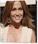 Jennifer Lopez At The Press Conference Canvas Print by Everett