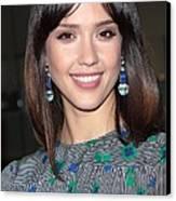 Jessica Alba Wearing Vintage Earrings Canvas Print by Everett