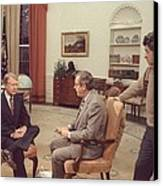 Jimmy Carter Prepares For An Interview Canvas Print by Everett