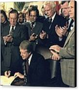 Jimmy Carter Signs Airline Deregulation Canvas Print by Everett