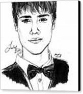 Justin Bieber Suit Drawing Canvas Print by Pierre Louis