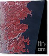 Kitakami River, Japan, Before Tsunami Canvas Print by National Aeronautics and Space Administration