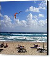 Kite Boarding In Boca Raton Florida Canvas Print by Merton Allen