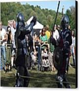 Knights Saber Fighting Canvas Print by Eileen Szydlowski