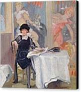 Lady At A Cafe Table  Canvas Print by Harry J Pearson