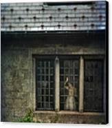 Lady By Window Of Tudor Mansion Canvas Print by Jill Battaglia
