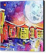 Large Moon Over Venice  Canvas Print by Ginette Callaway