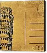 Leaning Tower Of Pisa Postcard Canvas Print by Setsiri Silapasuwanchai