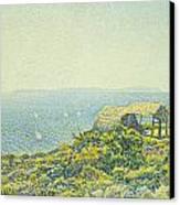 L'ile Du Levant Vu Du Cap Benat Canvas Print by Theo van Rysselberghe