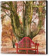 Little Red Bench Canvas Print by Debra and Dave Vanderlaan