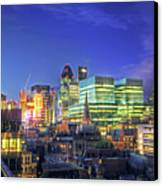 London Skyline At Night Canvas Print by Gregory Warran
