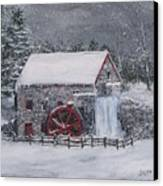 Longfellow's Grist Mill In Winter Canvas Print by Jack Skinner