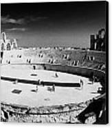 Looking Down On Main Arena Of Old Roman Colloseum El Jem Tunisia Canvas Print by Joe Fox
