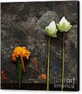 Lotus Flowers On A Thai Shrine Canvas Print by Paul Grand