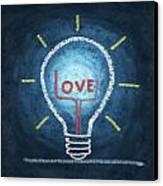 Love Word In Light Bulb Canvas Print by Setsiri Silapasuwanchai