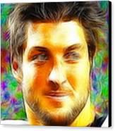 Magical Tim Tebow Face Canvas Print by Paul Van Scott