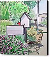 Mail Boxes Sketchbook Project Down My Street Canvas Print by Irina Sztukowski
