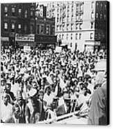 Malcolm X, Speaking To An Outdoor Rally Canvas Print by Everett