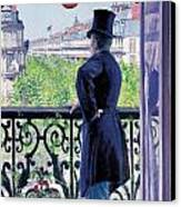 Man On A Balcony On Boulevard Haussmann Canvas Print by Gustave Caillebotte