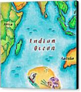 Map Of The Indian Ocean Canvas Print by Jennifer Thermes