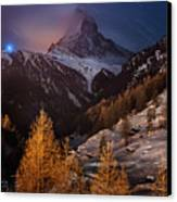 Matterhorn With Star Trail Canvas Print by Coolbiere Photograph