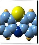 Methylene Blue, Molecular Model Canvas Print by Dr Mark J. Winter