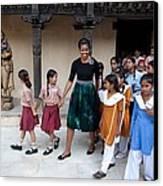 Michelle Obama Accompanied By Children Canvas Print by Everett