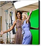 Michelle Obama And Jill Biden Joke Canvas Print by Everett