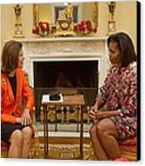 Michelle Obama And Queen Silvia Canvas Print by Everett