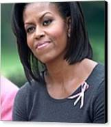 Michelle Obama At The Press Conference Canvas Print by Everett