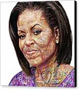 Michelle Obama With An Ipad Canvas Print by Edward Ofosu