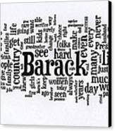 Michelle Obama Wordcloud At D N C Canvas Print by David Bearden