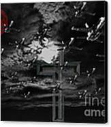 Midnight Raid Under The Red Moonlight Canvas Print by Wingsdomain Art and Photography