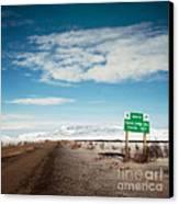 Milepost At The Dempster Highway Canvas Print by Priska Wettstein