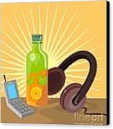 Mobile Phone Soda Drink Headphone Retro Canvas Print by Aloysius Patrimonio