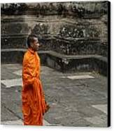 Monk At Ankor Wat Canvas Print by Bob Christopher