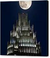 Moon Over Bank Of America Canvas Print by Patrick Schneider