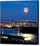 Moon Over Vancouver, Time-exposure Image Canvas Print by David Nunuk