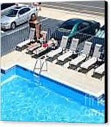 Motel Pool And Surroundings Canvas Print by Susan Stevenson