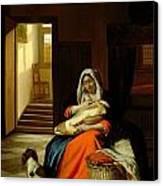Mother Nursing Her Child Canvas Print by  Pieter de Hooch