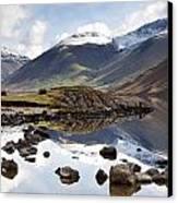 Mountains And Lake At Lake District Canvas Print by John Short